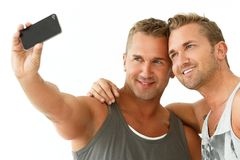 Handsome guys at home Stock Photos