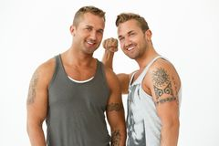 Handsome guys at home Stock Image