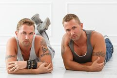 Handsome guys at home Royalty Free Stock Photo