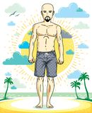 Handsome hairless young man with beard and mustaches standing on. Tropical beach in bright shorts. Vector athletic male illustration. Summer vacation lifestyle Stock Photo