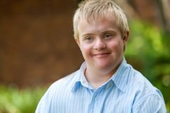 Handsome handicapped boy. Royalty Free Stock Images