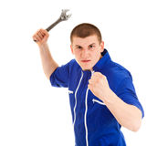 Handsome handyman standing Royalty Free Stock Images