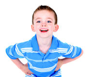 Handsome happy boy with hands on hips. Isolated on white Royalty Free Stock Photography