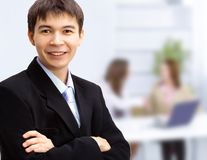 Handsome happy business man stock images