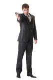 Handsome happy businessman holding cell phone Royalty Free Stock Photography