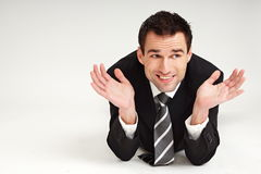 Handsome happy businessman stock photography
