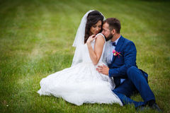Handsome happy groom kissing beautiful bride on the shoulder whi Royalty Free Stock Photography