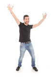 Handsome happy guy posing with arms up. Isolated on white Royalty Free Stock Photos