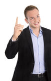 Handsome happy isolated young businessman raising up his finger Royalty Free Stock Photo