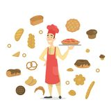 Baker with a fruit pie. Set of bakery products royalty free illustration