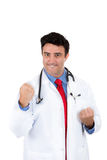 Handsome health care professional or doctor or nurse with stethoscope ready to fight disease Stock Image