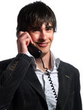 Handsome helpdesk operator is smiling Stock Photo