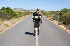 Handsome hiker walking on road and smiling at camera Stock Images