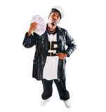 Handsome hip-hop young man with cash on white Royalty Free Stock Image