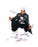 Handsome hip-hop young man with cash on white Royalty Free Stock Photo