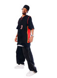 Handsome hip-hop young man on white Royalty Free Stock Photo