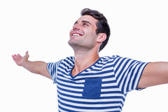 Handsome hipster with arms outstretched Stock Images