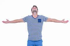 Handsome hipster with arms outstretched Royalty Free Stock Photography