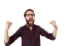 Handsome hipster cheering Stock Photos
