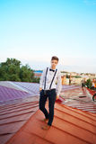 Handsome  hipster guy on the roof Stock Photography