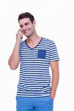Handsome hipster having a phone call Stock Photos