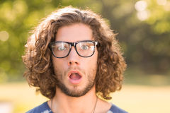Handsome hipster looking surprised in park Stock Image
