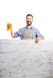 Handsome hipster man holding bear, copy space, isolated Stock Photography