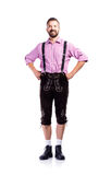 Handsome hipster man in traditional bavarian clothes, isolated Royalty Free Stock Images