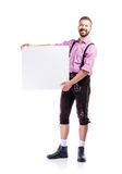 Handsome hipster man in traditional bavarian clothes, studio sho Stock Photography