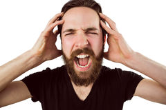 Handsome hipster shouting at camera Royalty Free Stock Photography