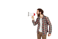 Handsome hipster shouting through megaphone Royalty Free Stock Image