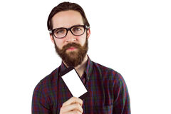 Handsome hipster showing his phone Stock Images