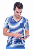Handsome hipster using tablet Stock Photography