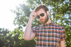 Handsome hipster wearing sunglasses Royalty Free Stock Photo