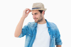 Handsome hipster wearing a trilby Royalty Free Stock Images