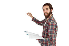 Handsome hipster writing with chalk Royalty Free Stock Photography