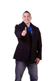 Handsome Hispanic Businessman Giving the Thumbs Up Royalty Free Stock Photography
