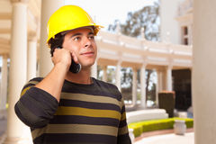 Handsome Hispanic Contractor with Hard Hat Stock Images