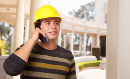 Handsome Hispanic Contractor with Hard Hat Royalty Free Stock Photography