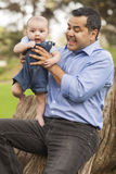 Handsome Hispanic Father and Son Posing for A Portrait Royalty Free Stock Photos