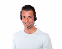 Handsome hispanic guy conversing with microphone Royalty Free Stock Images