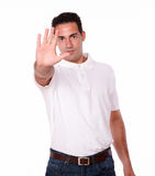 Handsome hispanic man giving high gesture Stock Image