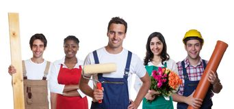 Handsome hispanic painter with group of other international appr Stock Images
