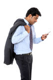 Handsome Indian business man with mobile. Stock Photo