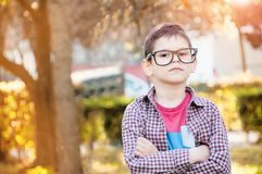 Handsome, intelligent boy with glasses and a serious view in a. Park with crossed arms Royalty Free Stock Photography
