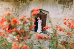 Handsome just married couple kissing near entrance of antique ruined castle with cute small red flowers on foreground Stock Photo