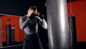 Handsome kickboxing man training punching bag in fitness studio. stock video footage