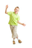 Handsome kid boy balancing or dancing isolated. Handsome kid boy balancing or dancing on white background Stock Image