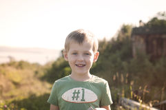 Handsome kid walking outdoors Royalty Free Stock Image