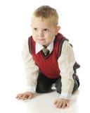 Handsome, Kneeling Preschooler Royalty Free Stock Images